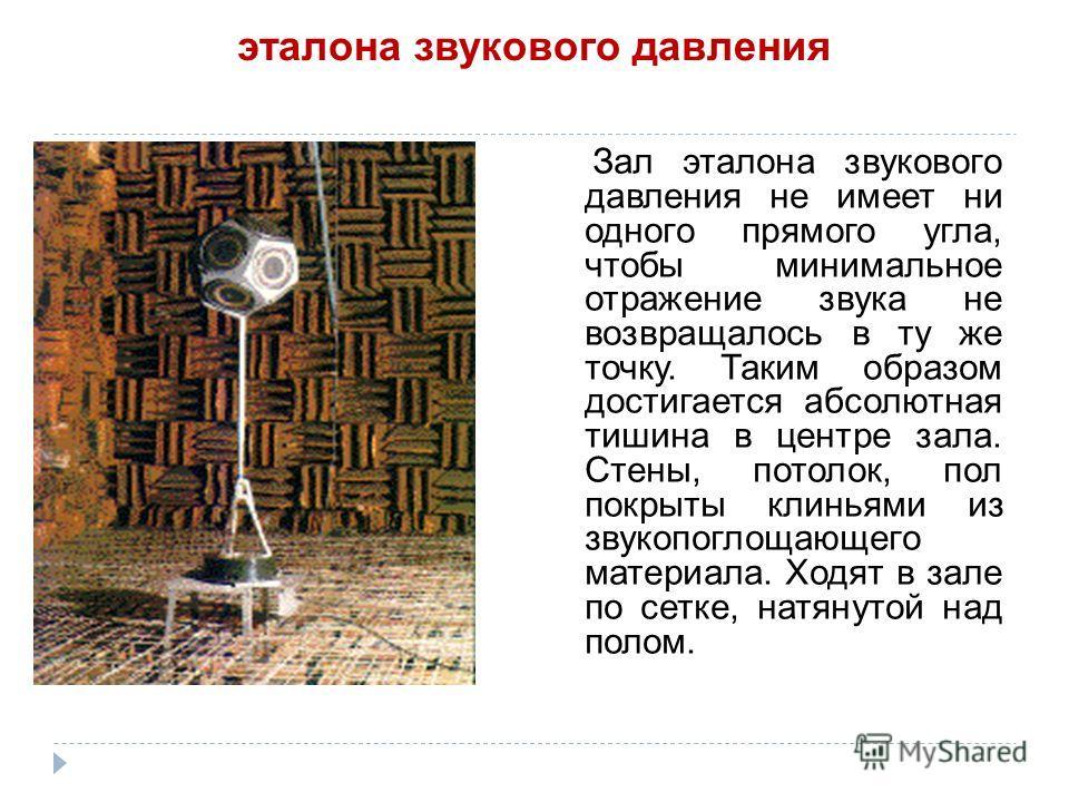 эталона звукового давления Зал эталона звукового давления не имеет ни одного прямого угла, чтобы минимальное отражение звука не возвращалось в ту же точку. Таким образом достигается абсолютная тишина в центре зала. Стены, потолок, пол покрыты клиньям