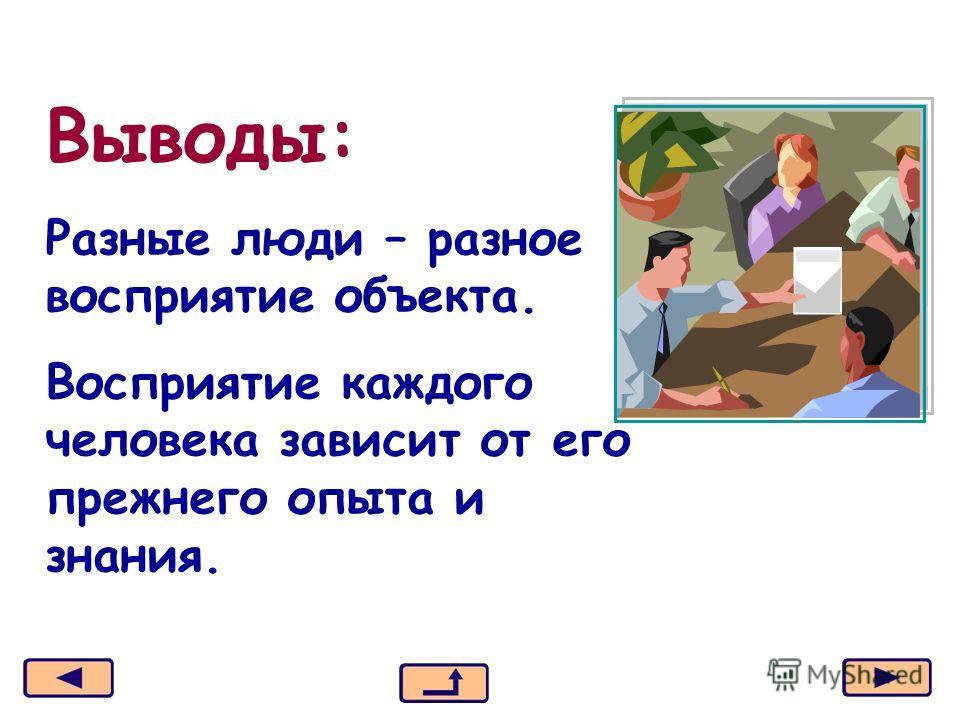 Москва, 2006 г.9 Выводы: Разные люди – разное восприятие объекта. Восприятие каждого человека зависит от его прежнего опыта и знания.