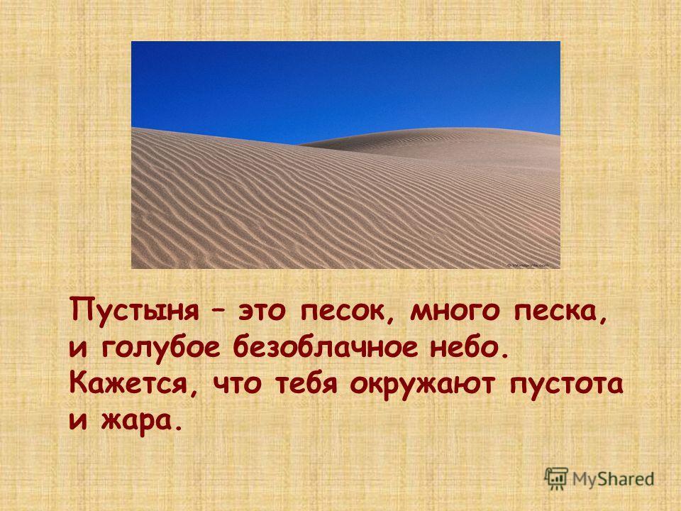 Пустыня – это песок, много песка, и голубое безоблачное небо. Кажется, что тебя окружают пустота и жара.