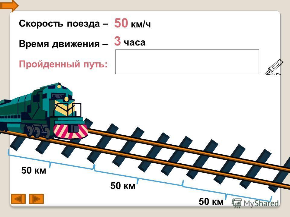 Скорость поезда – 50 км/ч Пройденный путь: 3 часа Время движения – 50 км