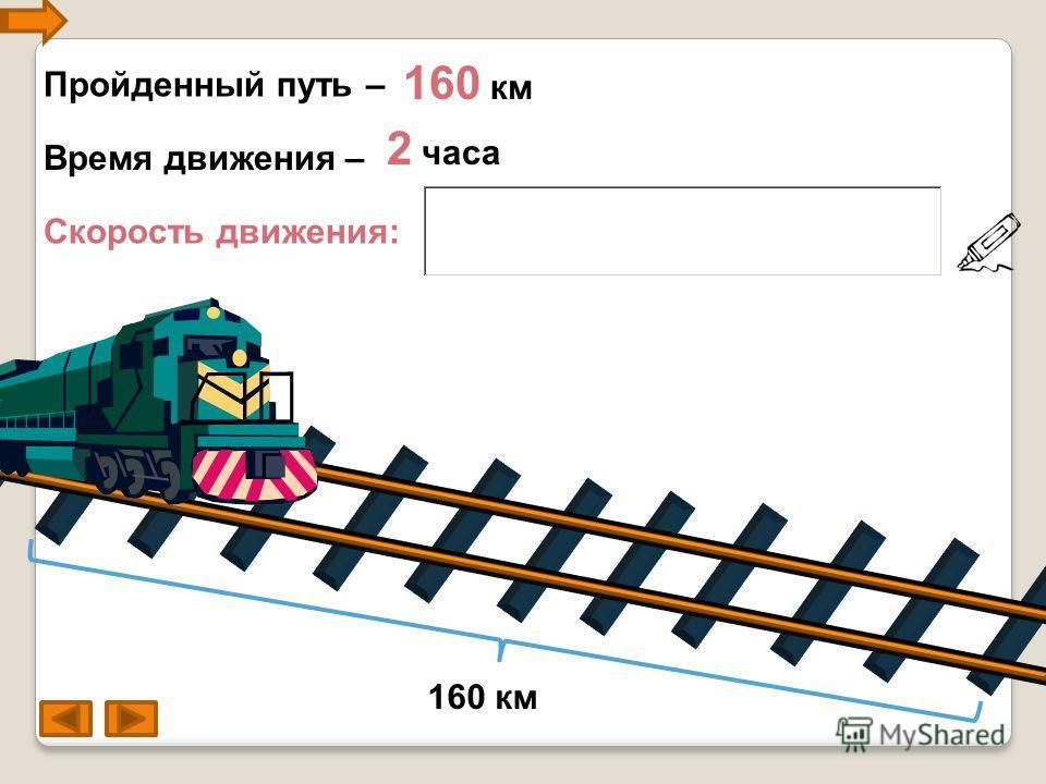 Пройденный путь – 160 км Скорость движения: 2 часа Время движения – 160 км