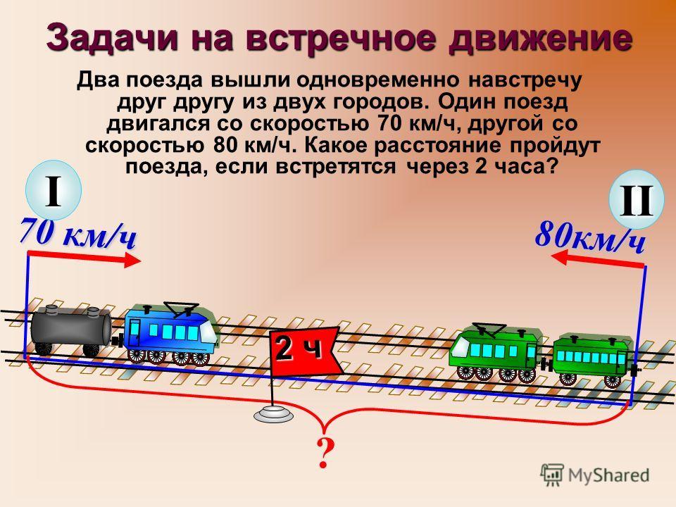 Задачи на встречное движение Два поезда вышли одновременно навстречу друг другу из двух городов. Один поезд двигался со скоростью 70 км/ч, другой со скоростью 80 км/ч. Какое расстояние пройдут поезда, если встретятся через 2 часа? ? 70 км/ч I 80км/ч