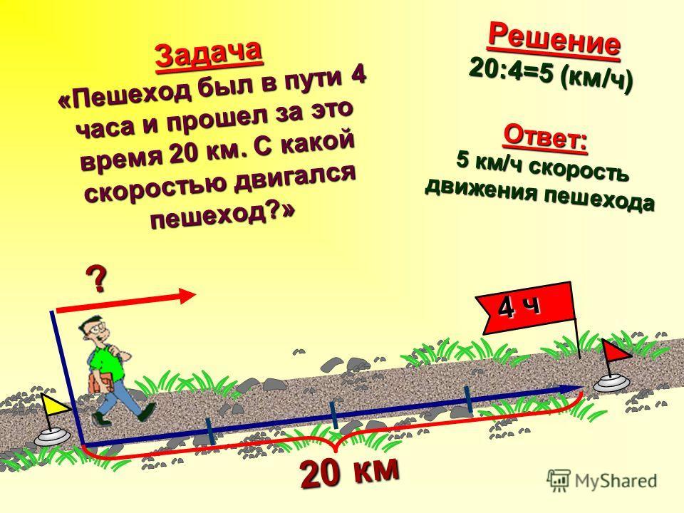 Задача «Пешеход был в пути 4 часа и прошел за это время 20 км. С какой скоростью двигался пешеход?» ? 20 км 20 км 4 ч 4 ч Решение 20:4=5 (км/ч) Ответ: 5 км/ч скорость движения пешехода