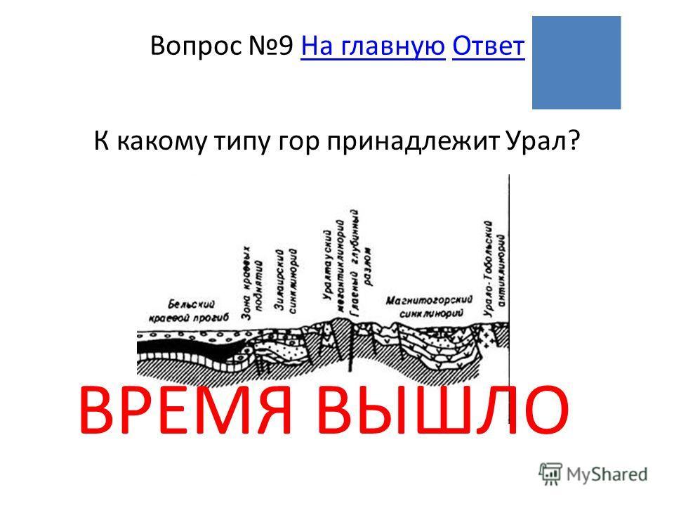 ВРЕМЯ ВЫШЛО Вопрос 9 На главную ОтветНа главнуюОтвет К какому типу гор принадлежит Урал?