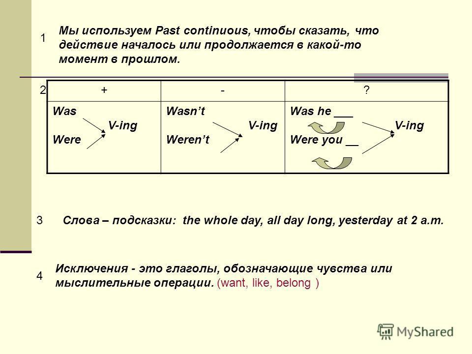 Мы используем Past continuous, чтобы сказать, что действие началось или продолжается в какой-то момент в прошлом. +-? Was V-ing Were Wasnt V-ing Werent Was he ___ V-ing Were you __ 2 1 Слова – подсказки: the whole day, all day long, yesterday at 2 a.