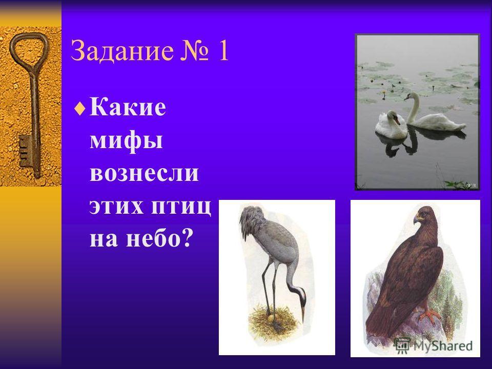 Задание 1 Какие мифы вознесли этих птиц на небо?