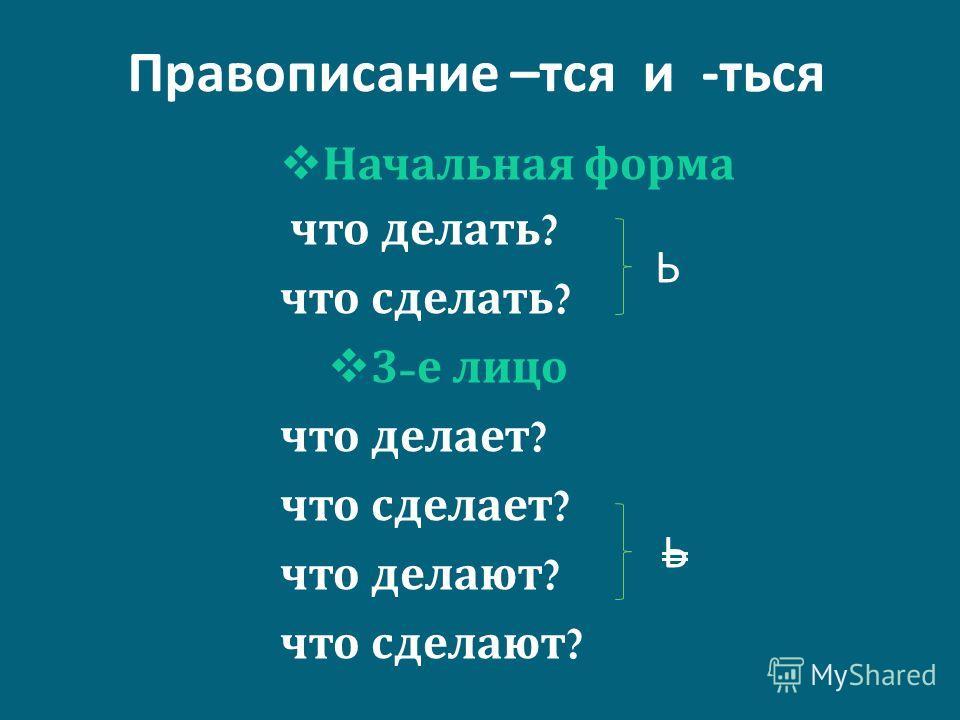 Правописание – тся и - ться Начальная форма что делать ? что сделать ? 3- е лицо что делает ? что сделает ? что делают ? что сделают ? Ь Ь