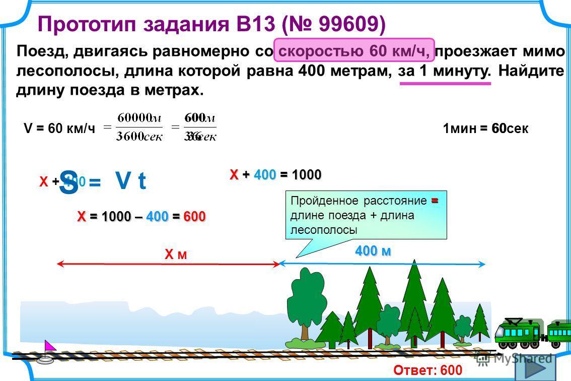 Прототип задания B13 ( 99609) Поезд, двигаясь равномерно со скоростью 60 км/ч, проезжает мимо лесополосы, длина которой равна 400 метрам, за 1 минуту. Найдите длину поезда в метрах. = Пройденное расстояние = длине поезда + длина лесополосы 60V = 60 к