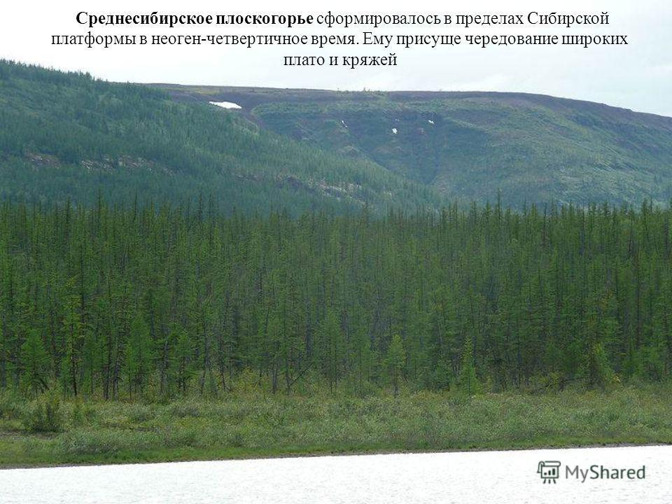 Среднесибирское плоскогорье сформировалось в пределах Сибирской платформы в неоген-четвертичное время. Ему присуще чередование широких плато и кряжей