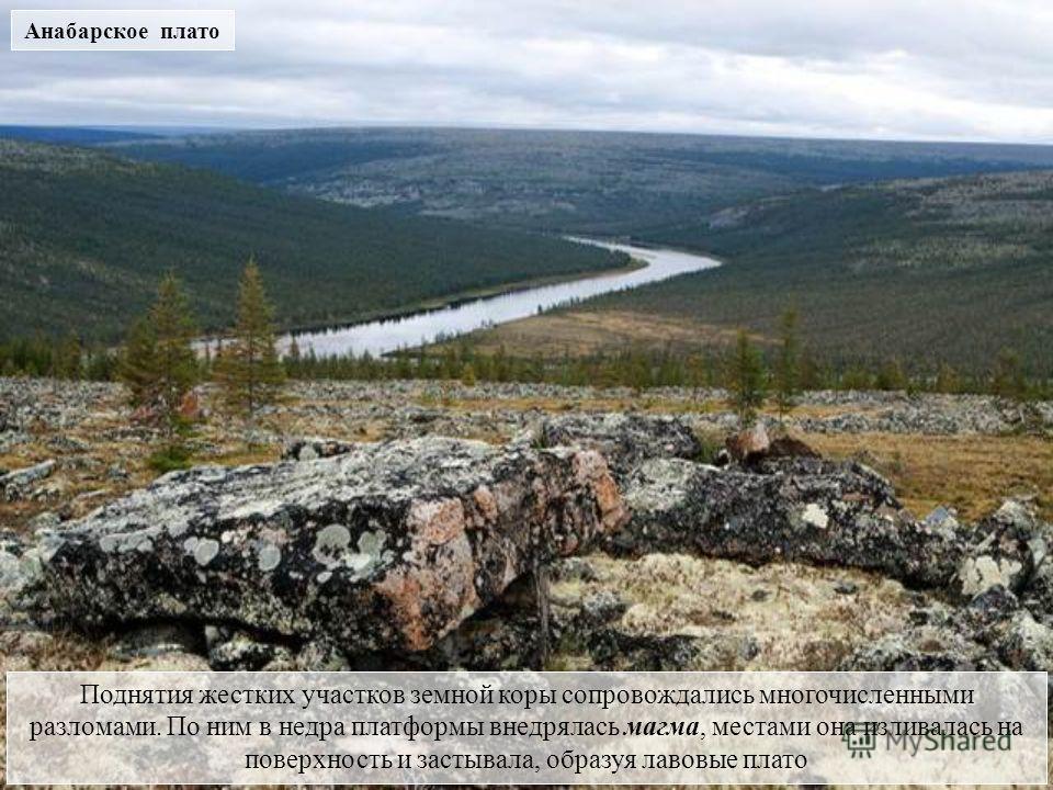 Поднятия жестких участков земной коры сопровождались многочисленными разломами. По ним в недра платформы внедрялась магма, местами она изливалась на поверхность и застывала, образуя лавовые плато Анабарское плато