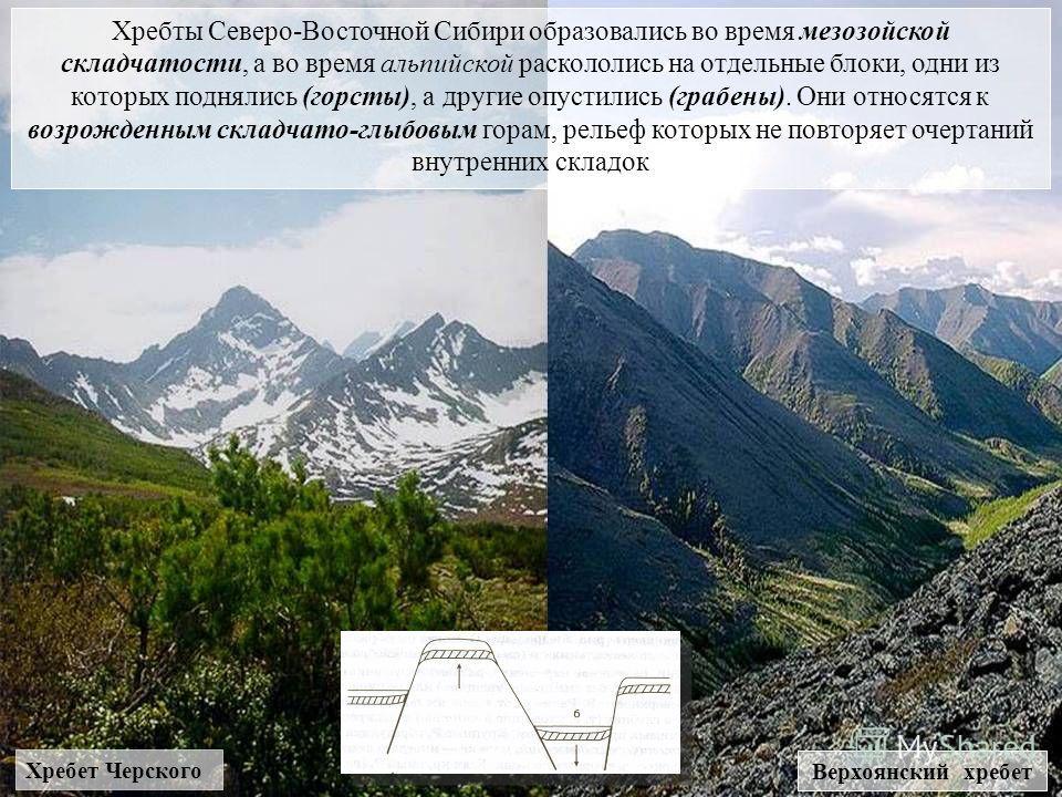 Хребты Северо-Восточной Сибири образовались во время мезозойской складчатости, а во время альпийской раскололись на отдельные блоки, одни из которых поднялись (горсты), а другие опустились (грабены). Они относятся к возрожденным складчато-глыбовым го