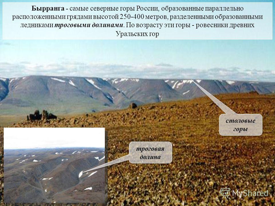 Бырранга - самые северные горы России, образованные параллельно расположенными грядами высотой 250-400 метров, разделенными образованными ледниками троговыми долинами. По возрасту эти горы - ровесники древних Уральских гор троговая долина столовые го