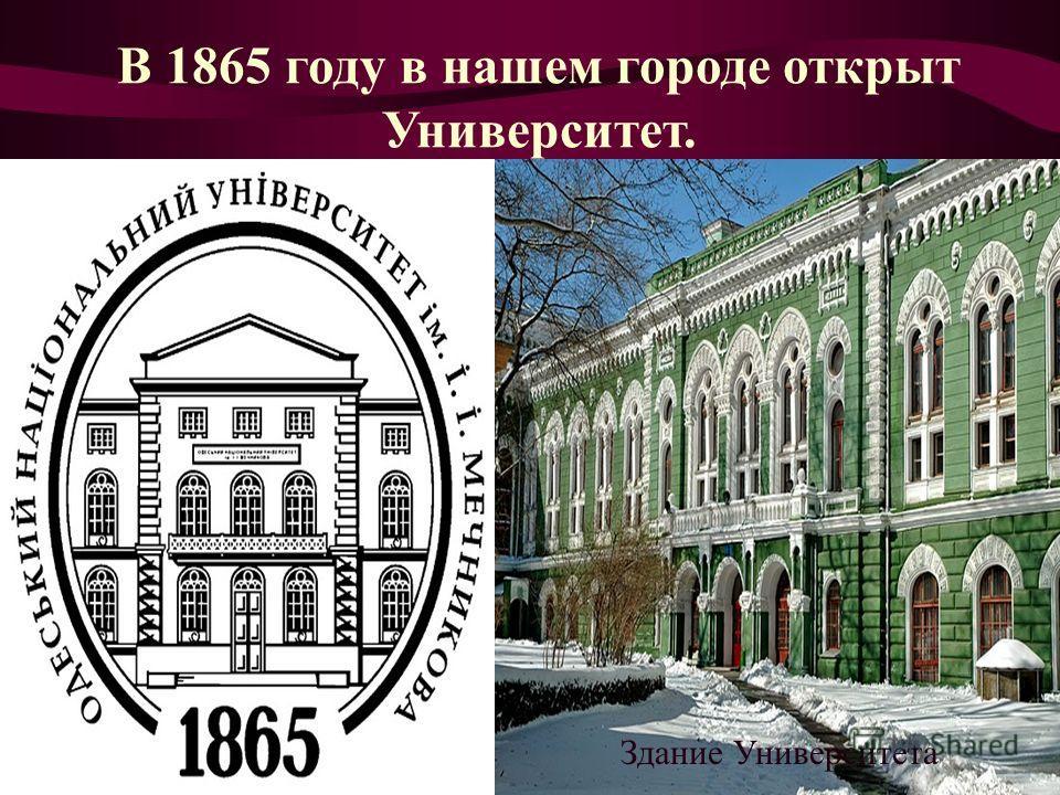В 1865 году в нашем городе открыт Университет. Здание Университета