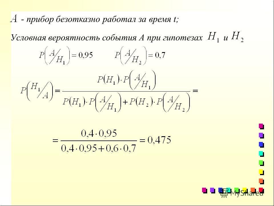 - прибор безотказно работал за время t; Условная вероятность события А при гипотезах и