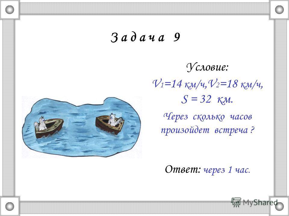 З а д а ч а 9 Условие: V 1 =14 км/ч,V 2 =18 км/ч, S = 32 км. Через сколько часов произойдет встреча ? Ответ: через 1 час.