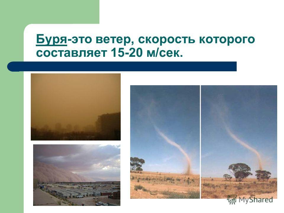 Буря-это ветер, скорость которого составляет 15-20 м/сек.