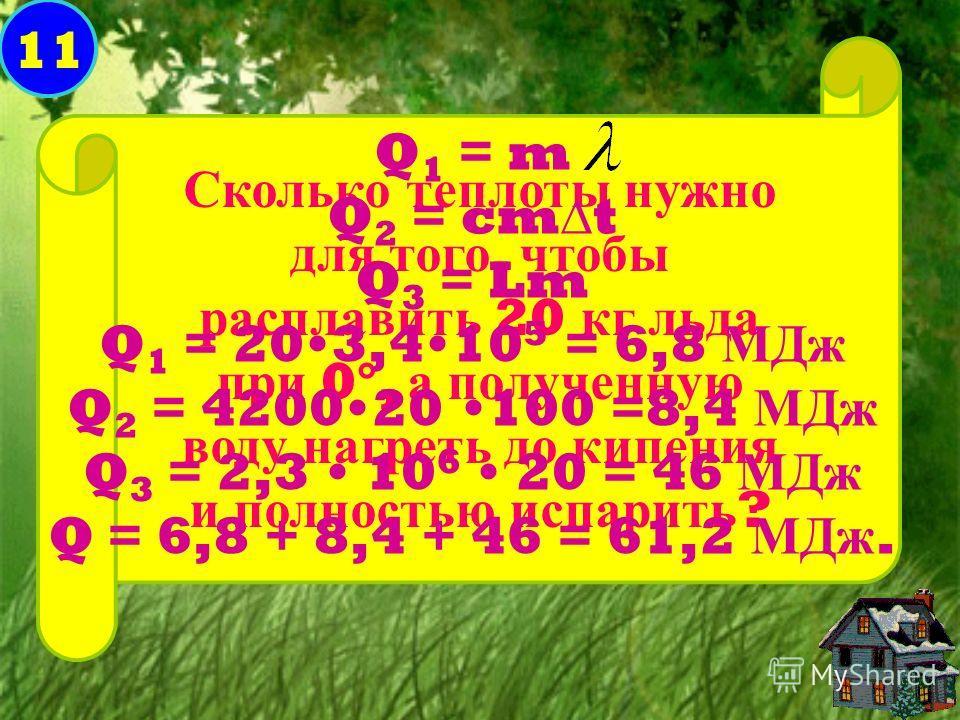 11 Сколько теплоты нужно для того, чтобы расплавить 20 кг льда при 0°, а полученную воду нагреть до кипения и полностью испарить ? Q 1 = m Q 2 = cmt Q 3 = Lm Q 1 = 203,410 5 = 6,8 МДж Q 2 = 420020 100 =8,4 МДж Q 3 = 2,3 10 6 20 = 46 МДж Q = 6,8 + 8,4
