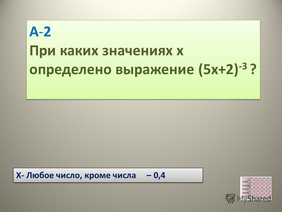 А-2 При каких значениях х определено выражение (5х+2) -3 ? А-2 При каких значениях х определено выражение (5х+2) -3 ? Х- Любое число, кроме числа – 0,4