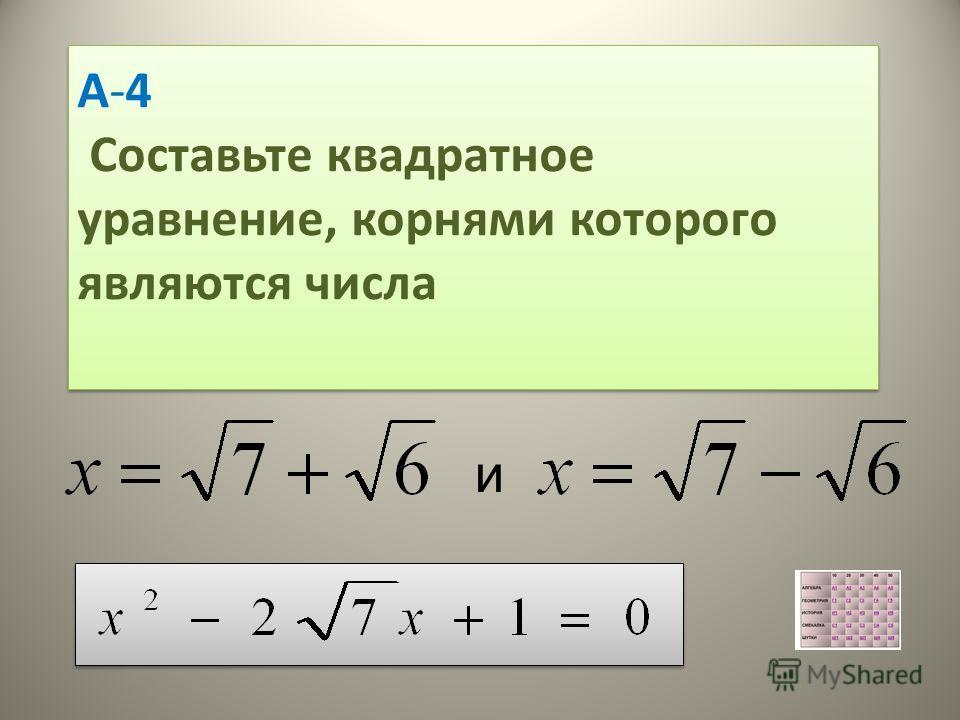 А-4 Составьте квадратное уравнение, корнями которого являются числа А-4 Составьте квадратное уравнение, корнями которого являются числа и