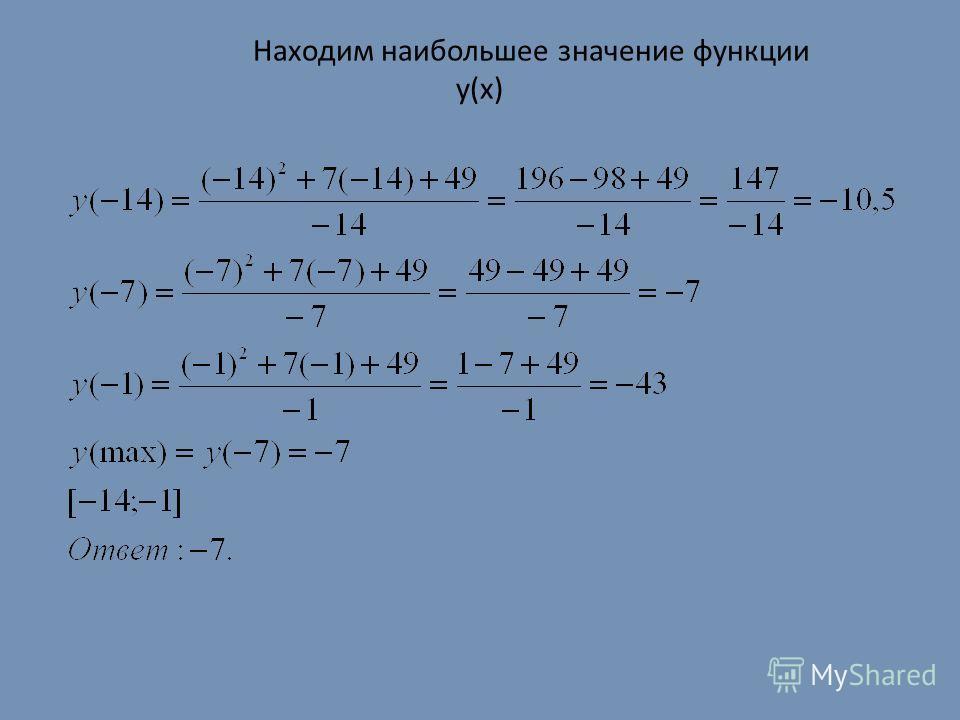 Находим наибольшее значение функции y(x)