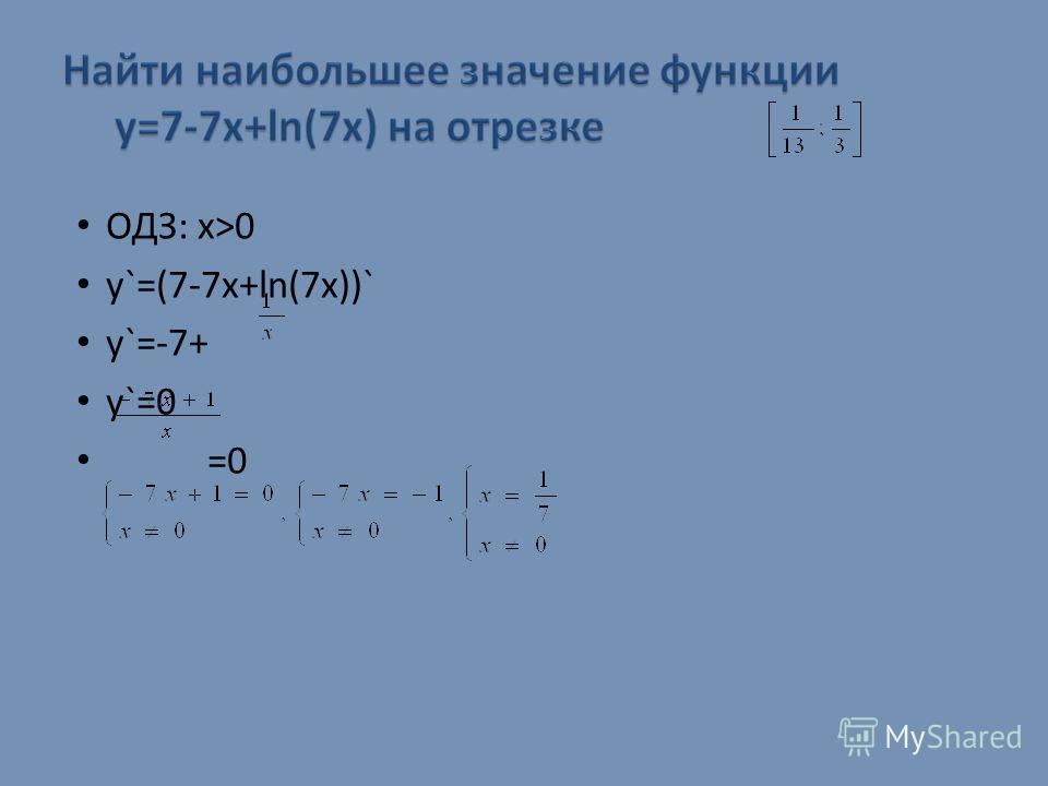 ОДЗ: х>0 y`=(7-7x+ln(7x))` y`=-7+ y`=0 =0