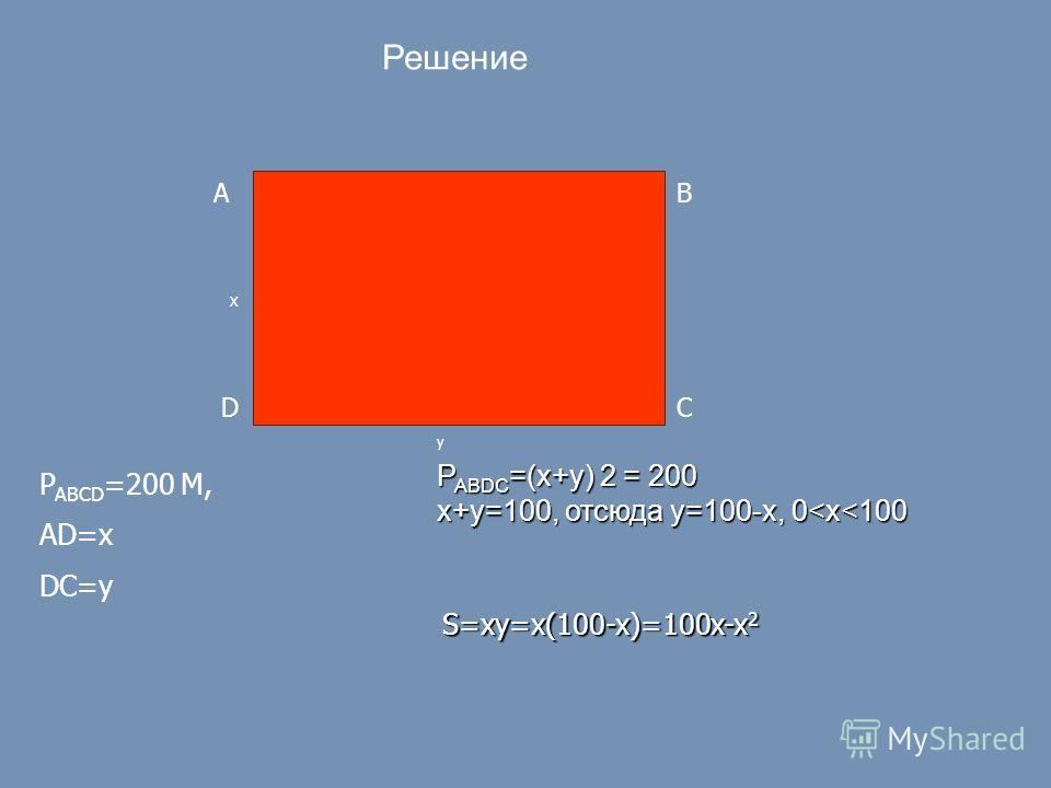 AB DC X y P ABCD =200 М, AD=x DC=y Решение P ABDC =(x+y) 2 = 200 x+y=100, отсюда y=100-x, 0