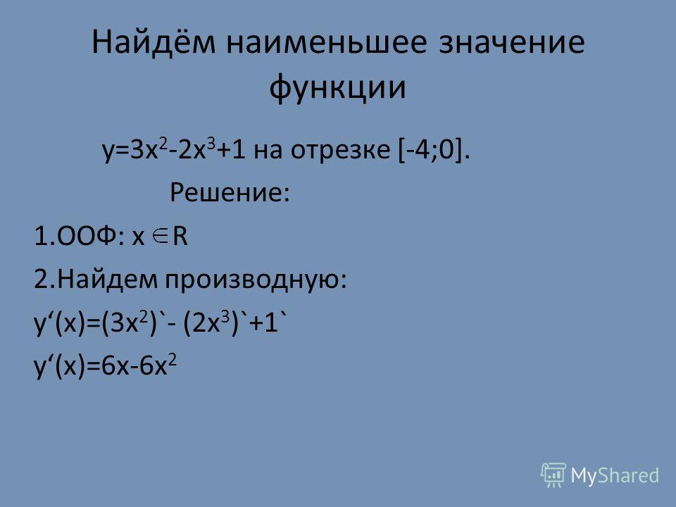 Найдём наименьшее значение функции y=3x 2 -2x 3 +1 на отрезке [-4;0]. Решение: 1.ООФ: х R 2.Найдем производную: у(х)=(3х 2 )`- (2х 3 )`+1` у(х)=6х-6х 2