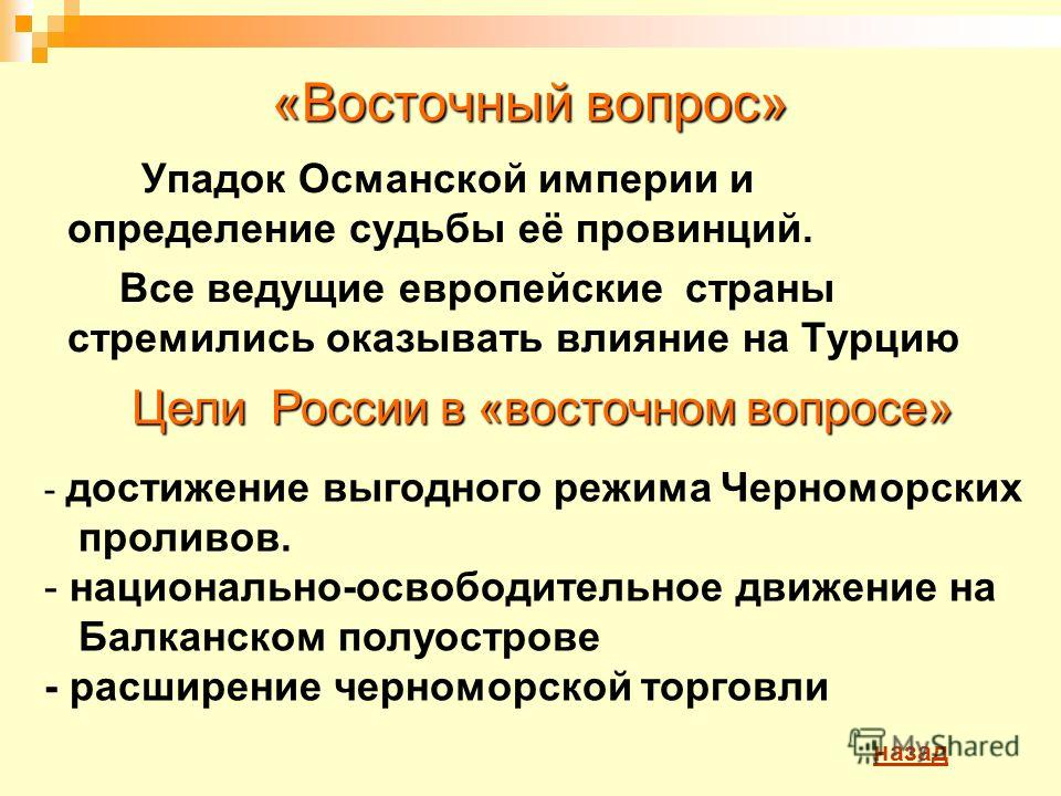 «Восточный вопрос» Упадок Османской империи и определение судьбы её провинций. Все ведущие европейские страны стремились оказывать влияние на Турцию - достижение выгодного режима Черноморских проливов. - национально-освободительное движение на Балкан