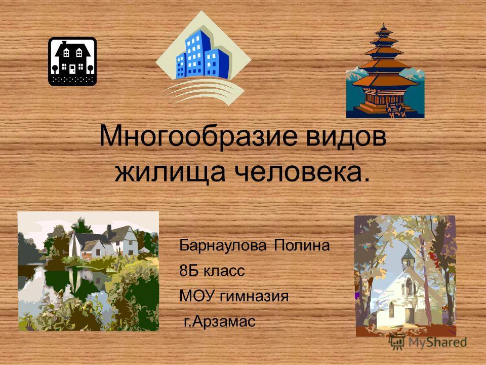 Многообразие видов жилища человека. Барнаулова Полина 8Б класс МОУ гимназия г.Арзамас