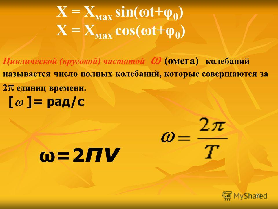 21 Циклической (круговой) частотой (омега) колебаний называется число полных колебаний, которые совершаются за 2 единиц времени. [ ]= рад/с Х = Х мах sin(ωt+φ 0 ) Х = Х мах cos(ωt+φ 0 ) ω=2 πν