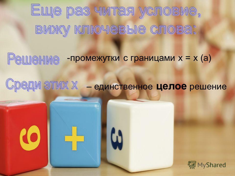 – единственное целое решение -промежутки с границами x = x (a)