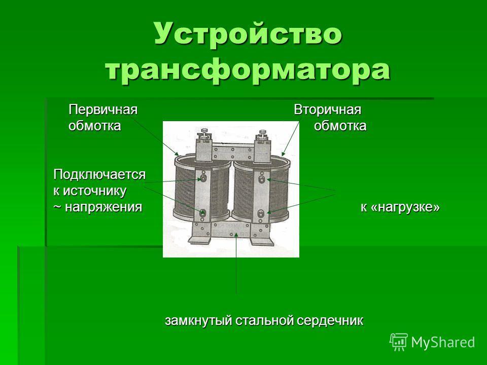 Устройство трансформатора Первичная Вторичная Первичная Вторичная обмотка обмотка обмотка обмотка Подключается Подключается к источнику к источнику ~ напряжения к «нагрузке» ~ напряжения к «нагрузке» замкнутый стальной сердечник замкнутый стальной се