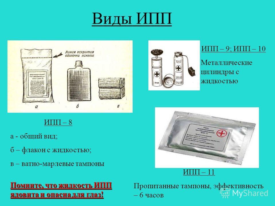 Виды ИПП ИПП – 8 а - общий вид; б – флакон с жидкостью; в – ватно-марлевые тампоны ИПП – 9; ИПП – 10 Металлические цилиндры с жидкостью ИПП – 11 Пропитанные тампоны, эффективность – 6 часов Помните, что жидкость ИПП ядовита и опасна для глаз!