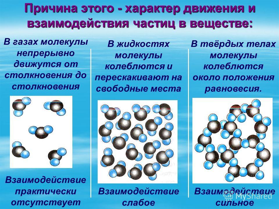 Причина этого - характер движения и взаимодействия частиц в веществе: В газах молекулы непрерывно движутся от столкновения до столкновения Взаимодействие практически отсутствует В жидкостях молекулы колеблются и перескакивают на свободные места В твё