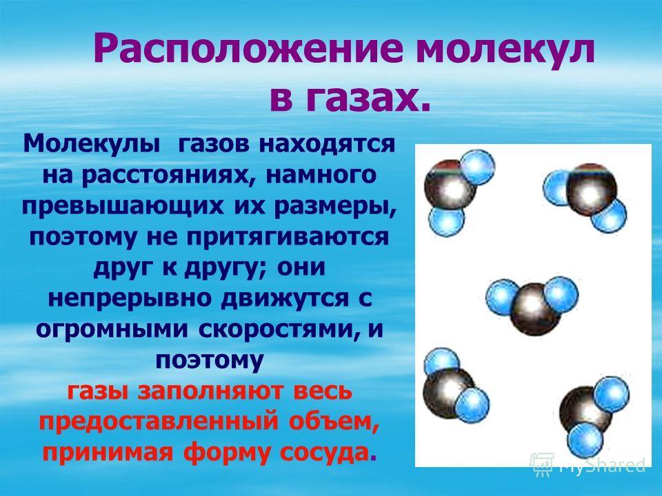 Молекулы газов находятся на расстояниях, намного превышающих их размеры, поэтому не притягиваются друг к другу; они непрерывно движутся с огромными скоростями, и поэтому газы заполняют весь предоставленный объем, принимая форму сосуда. Расположение м