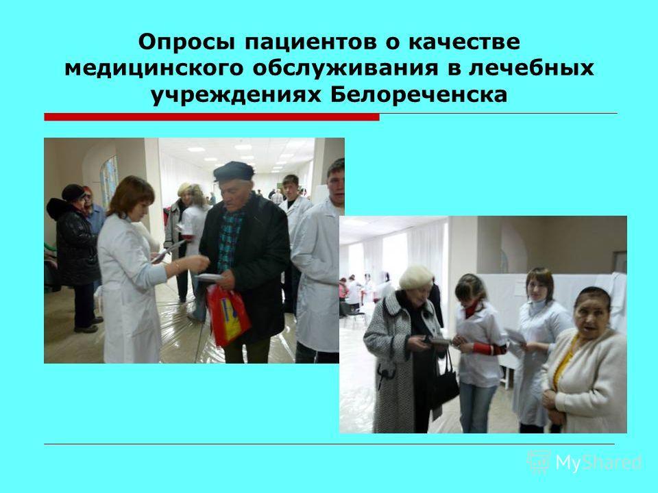 Опросы пациентов о качестве медицинского обслуживания в лечебных учреждениях Белореченска