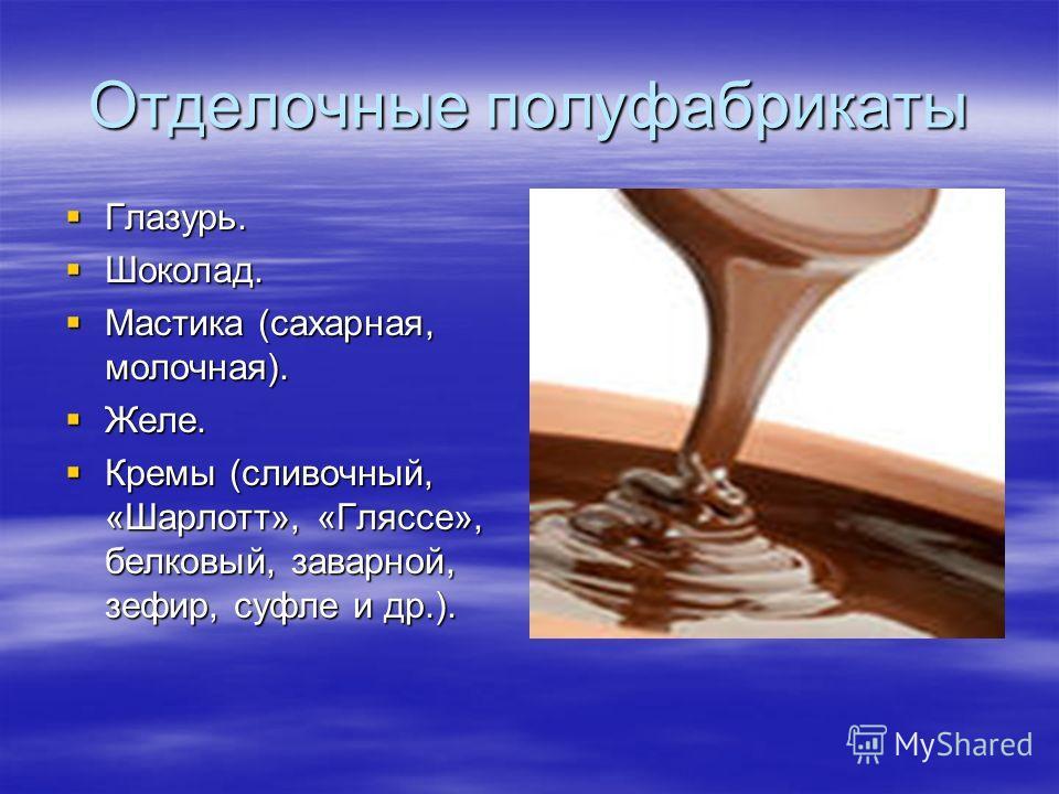Отделочные полуфабрикаты Глазурь. Глазурь. Шоколад. Шоколад. Мастика (сахарная, молочная). Мастика (сахарная, молочная). Желе. Желе. Кремы (сливочный, «Шарлотт», «Гляссе», белковый, заварной, зефир, суфле и др.). Кремы (сливочный, «Шарлотт», «Гляссе»