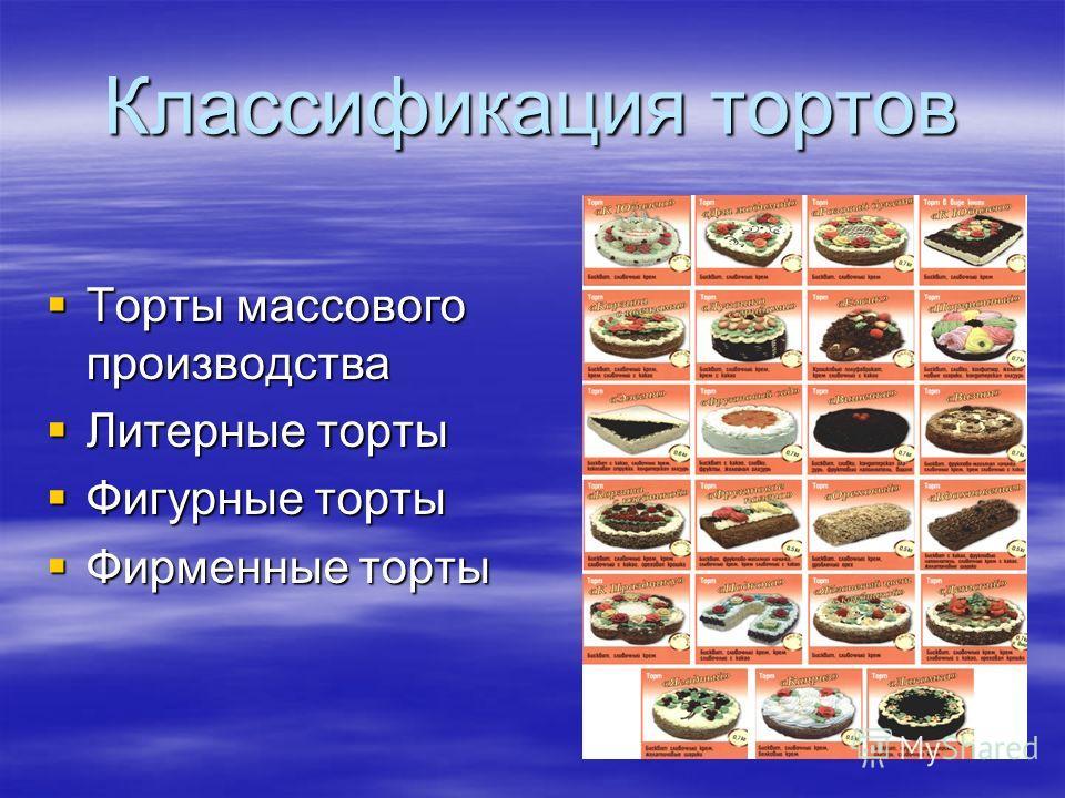 Классификация тортов Торты массового производства Торты массового производства Литерные торты Литерные торты Фигурные торты Фигурные торты Фирменные торты Фирменные торты
