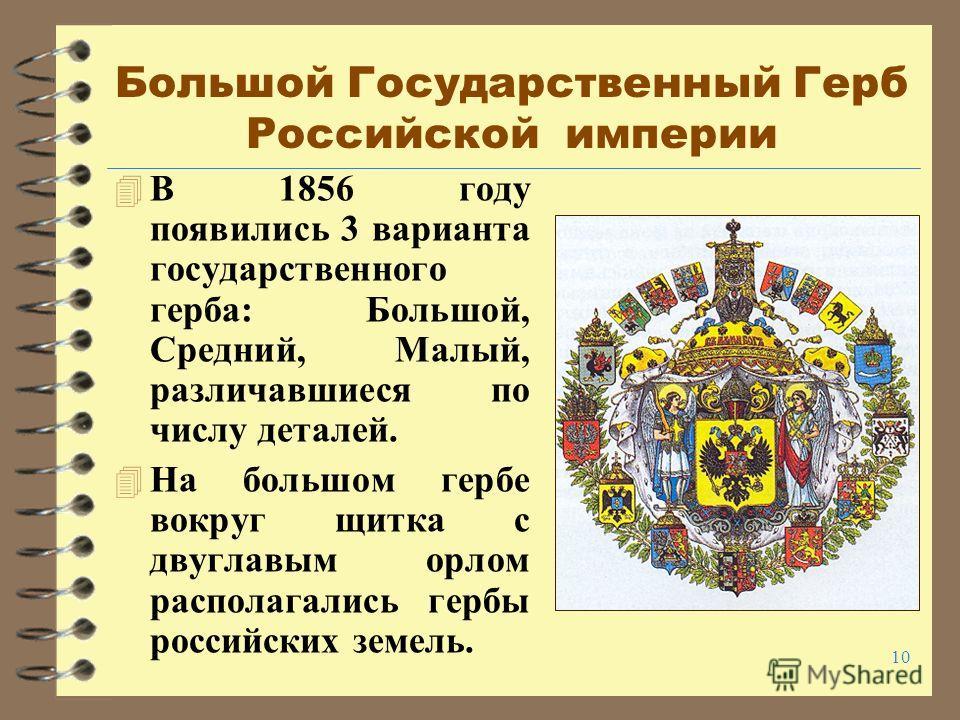 10 Большой Государственный Герб Российской империи 4 В 1856 году появились 3 варианта государственного герба: Большой, Средний, Малый, различавшиеся по числу деталей. 4 На большом гербе вокруг щитка с двуглавым орлом располагались гербы российских зе