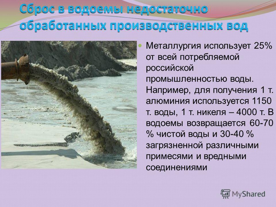 Металлургия использует 25% от всей потребляемой российской промышленностью воды. Например, для получения 1 т. алюминия используется 1150 т. воды, 1 т. никеля – 4000 т. В водоемы возвращается 60-70 % чистой воды и 30-40 % загрязненной различными приме