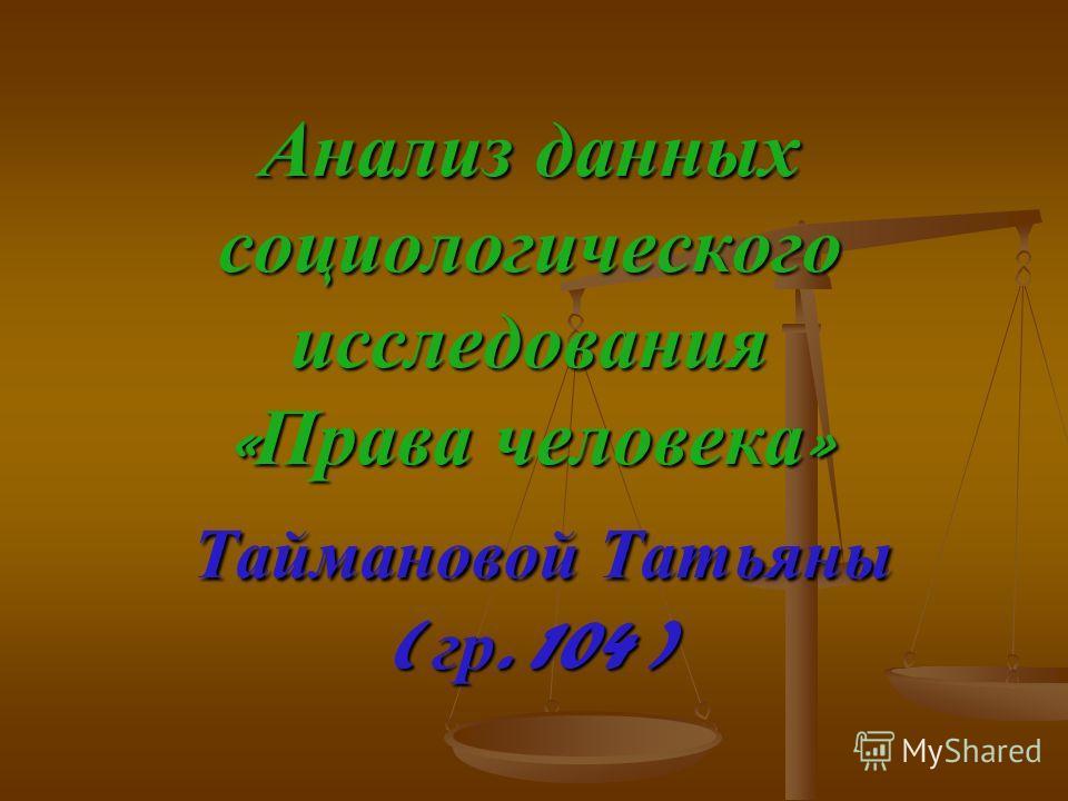 Анализ данных социологического исследования « Права человека » Таймановой Татьяны ( гр. 104 )