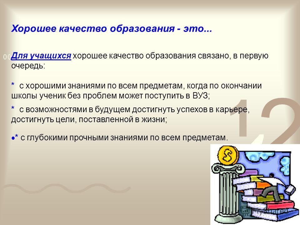 Повышение качества образования – одна из основных задач, декларируемых Концепцией модернизации российского образования на период до 2010 года. Условия достижения «нового современного качества образования»: * введение в действие государственных образо