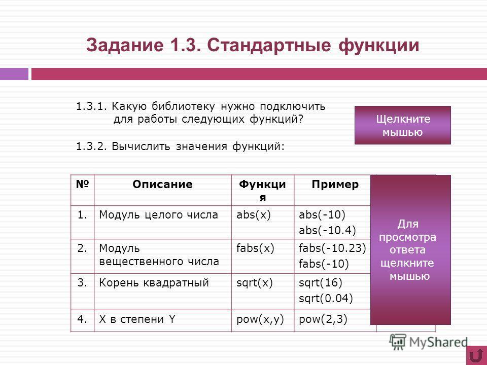 Задание 1.3. Стандартные функции ОписаниеФункци я ПримерОтвет 1.Модуль целого числаabs(x)abs(-10) abs(-10.4) 10 2.Модуль вещественного числа fabs(x)fabs(-10.23) fabs(-10) 10.23 10 3.Корень квадратныйsqrt(x)sqrt(16) sqrt(0.04) 4 0.2 4.X в степени Ypow