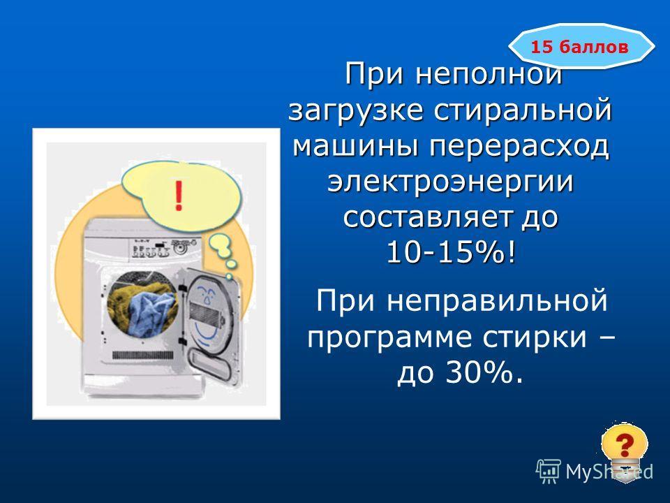 При неполной загрузке стиральной машины перерасход электроэнергии составляет до 10-15%! При неполной загрузке стиральной машины перерасход электроэнергии составляет до 10-15%! 15 баллов При неправильной программе стирки – до 30%.