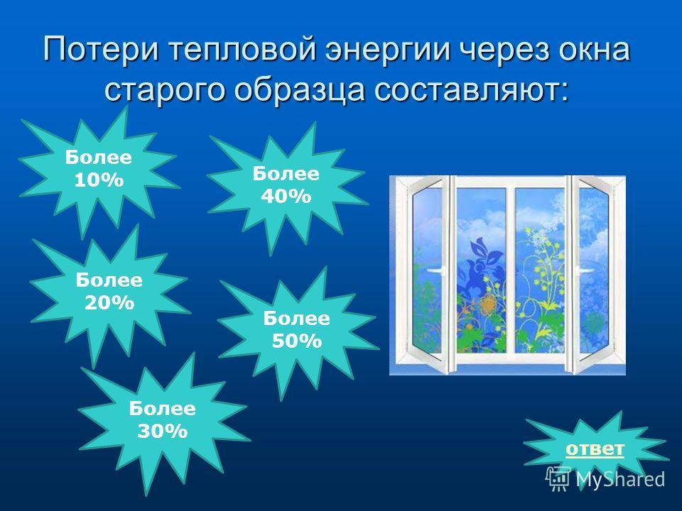Потери тепловой энергии через окна старого образца составляют: ответ Более 10% Более 30% Более 20% Более 50% Более 40%