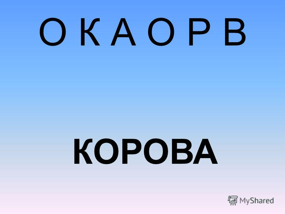 О К А О Р В КОРОВА