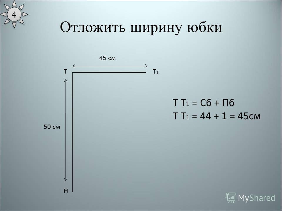 Отложить ширину юбки Т Н 50 см Т1Т1 45 см Т Т 1 = Сб + Пб Т Т 1 = 44 + 1 = 45см 4 4