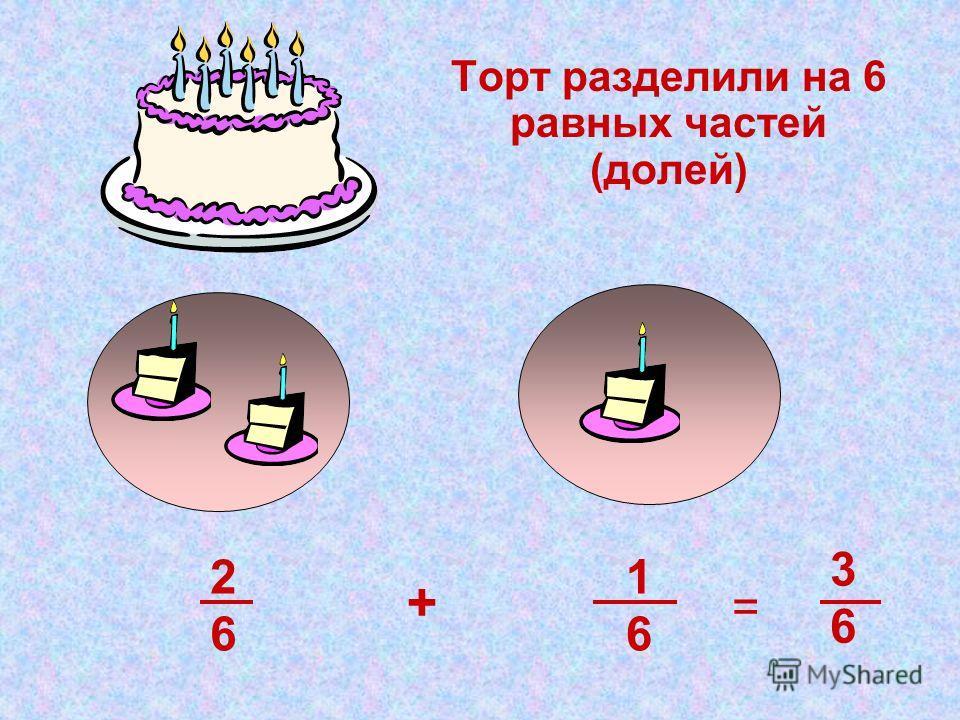 Торт разделили на 6 равных частей (долей) 1616 + 2626 3636 =