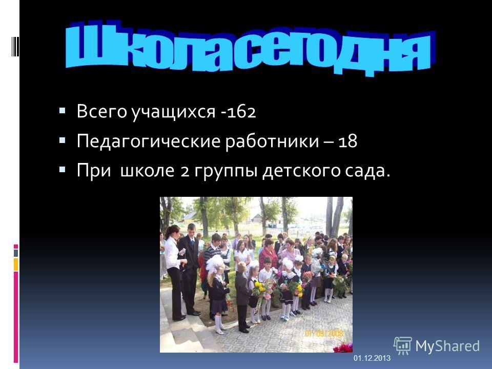 Всего учащихся -162 Педагогические работники – 18 При школе 2 группы детского сада. 01.12.2013