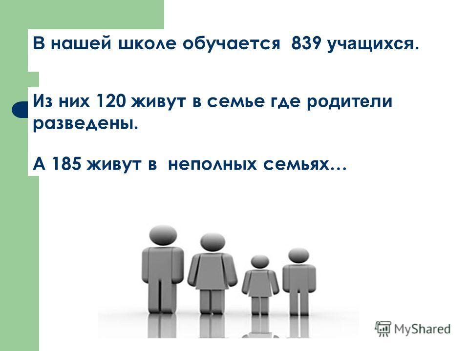 В нашей школе обучается 839 учащихся. Из них 120 живут в семье где родители разведены. А 185 живут в неполных семьях…